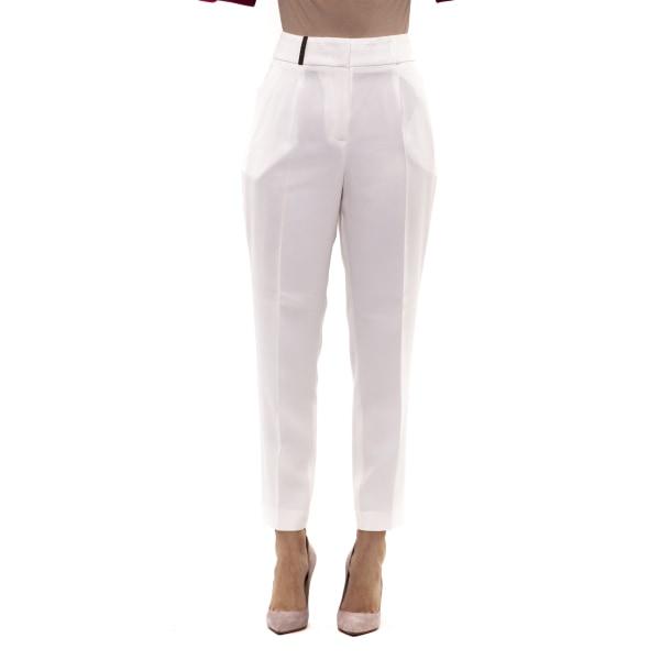 Trousers White Peserico Woman UK 10 - M