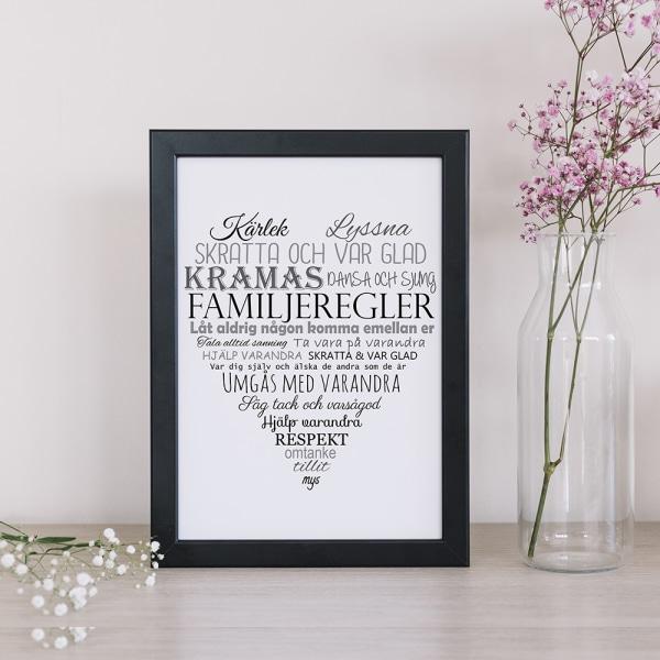 Poster till tavla Familjeregler Familj  A4