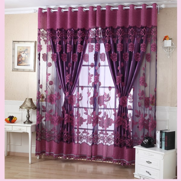 1 X Voile Window Curtains Blommönster Sheer Panel Drapering Curt