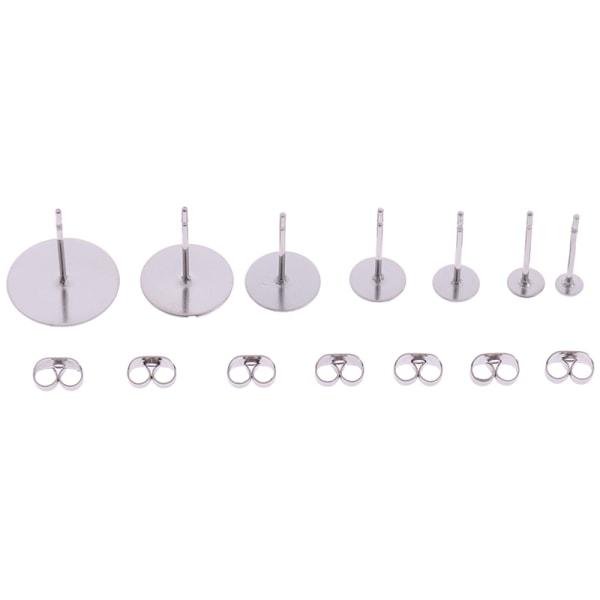 100st stål allergivänliga Flat Pad örhänge öronstolpe 3-12mm Fi