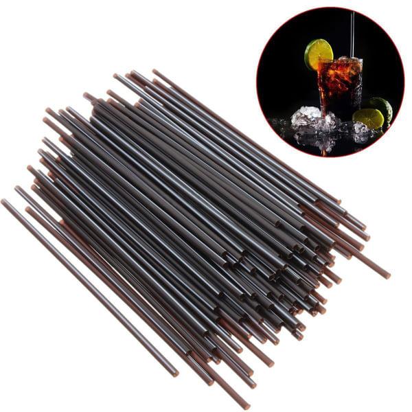 100X svart plast Mini Cocktail sugrör för festdrycker