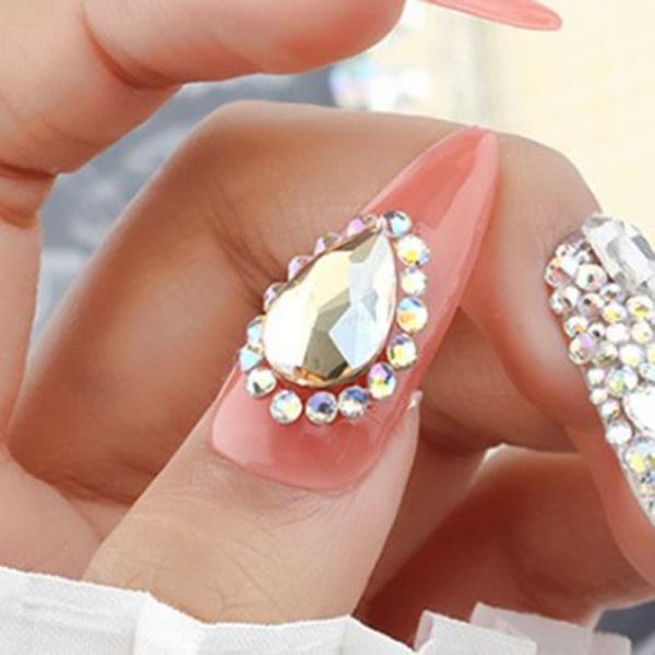 10st Crystal Nail Rhinestones 3D Water Drop Stones AB Nail Art