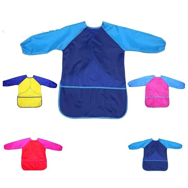 1 st Barnförkläde för målningsskola Smock Portable Long Sleeve W.