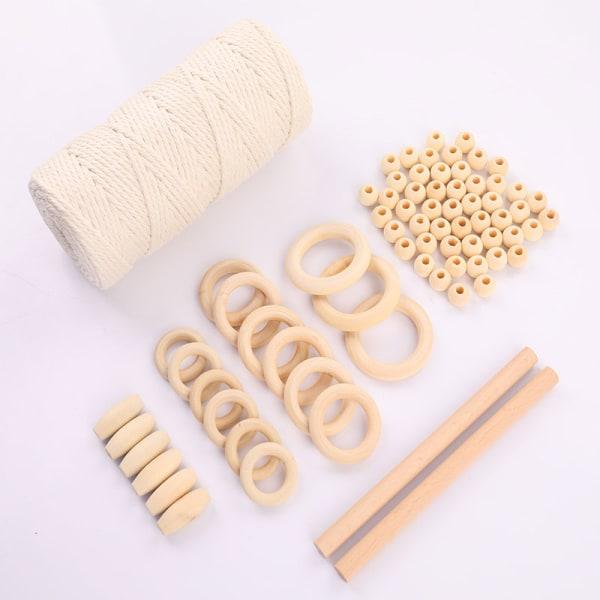 1Set Macrame Cord Cotton Rep med träring träpärlor för DI