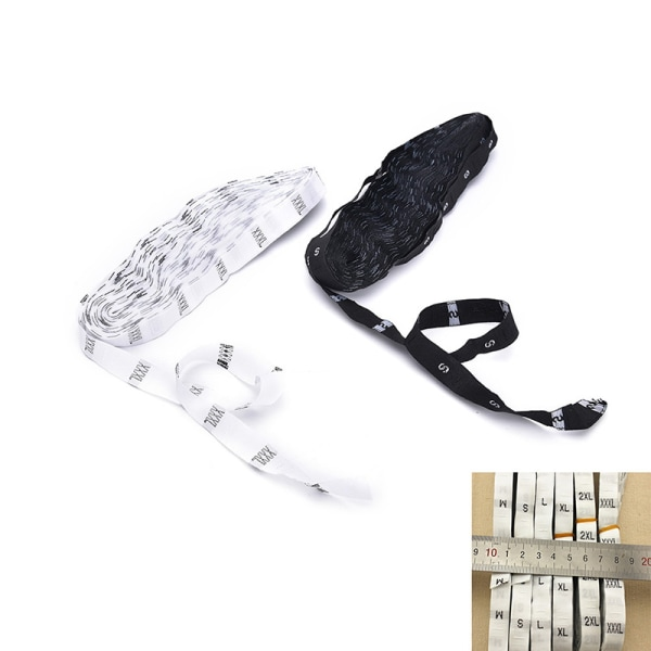 500 vit svart vävda klädesplagg Storleksetiketter Taggar Sweing