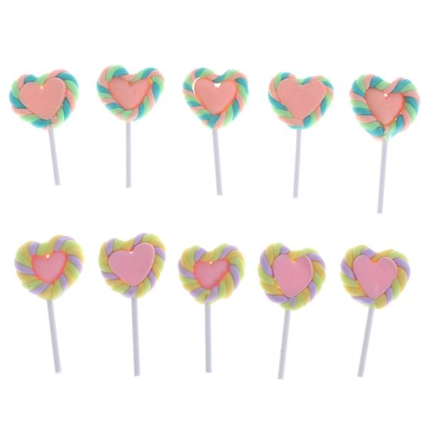 5st Clay Love Lollipop-Dollhouse Party Decor Candy Miniaturer
