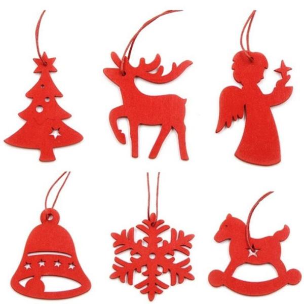 6st DIY vita och röda snöflingor jul trähängen Ornamen
