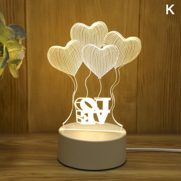 Akryl 3D Night Light Elk älskar kreativt mönster Night Light L.