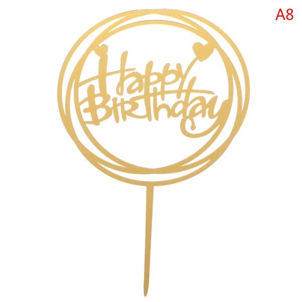 Akryl Grattis på födelsedagen Cake Toppers Cupcake Dessert Dekoration