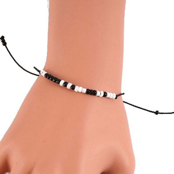 Justerbart Morse Code-armband Kvinnor Män Handgjorda Flätade Svart