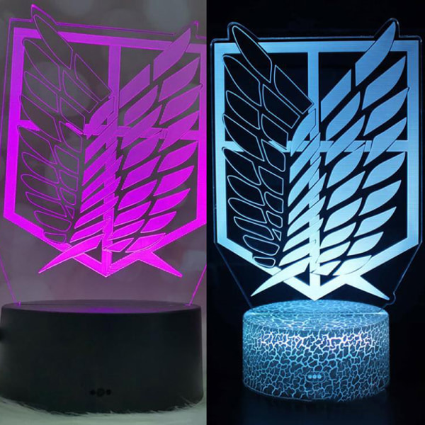 Anime Attack on Titan Akryl 3d Led-lampa för hemrumsdekoration L.