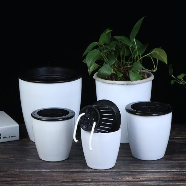 Automatisk självvattnande blomma växter kruka placeras i golvet Irrigati