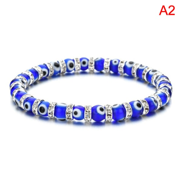 Blå Turkish Evil Eye elastiska armband Charms Crystal Beaded Br