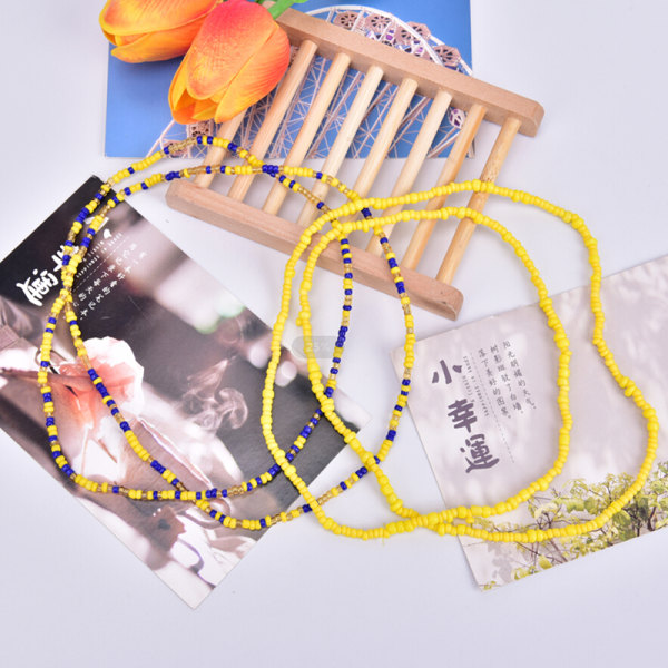 Bohemiska färgglada dubbla rader pärlor Kroppskedjor Belly Waist Beac