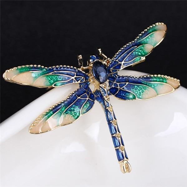 Charm Rhinestone Enamel Dragonfly Animal Brooch Pin Women Gift