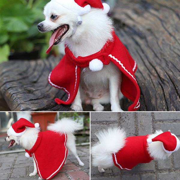 Christmas Dog Cloak Hat Set Pet Dog Coat Cape Dog Clothes Puppy