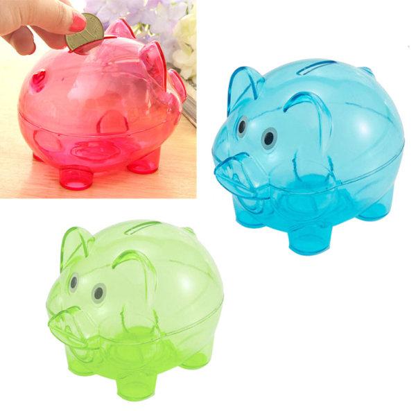 Klar spargris myntpengar plast fortfarande besparingar leksak kassaskåp