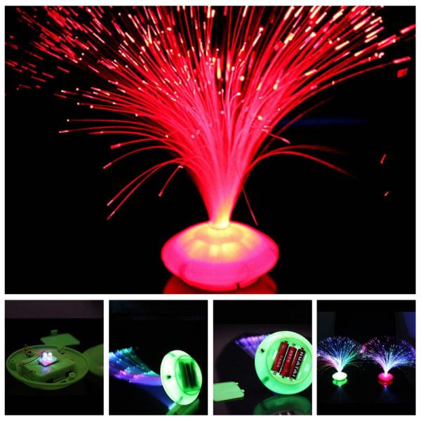 Färgbyte LED-fiberoptisk nattljuslampa stativ hemdeko