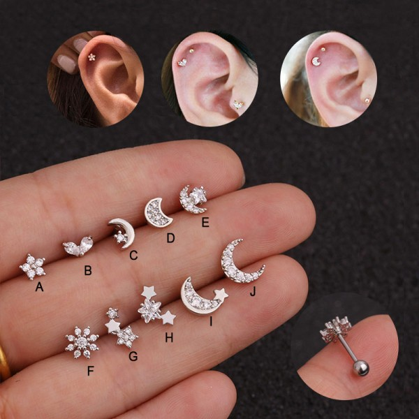 Crystal Rhinestone Moon Sun Ear Helix Brosk Body Piercing E