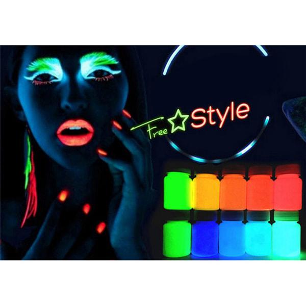 Fluorescerande Neon Luminous Nail Fine Powder Glow in the Dark Gl