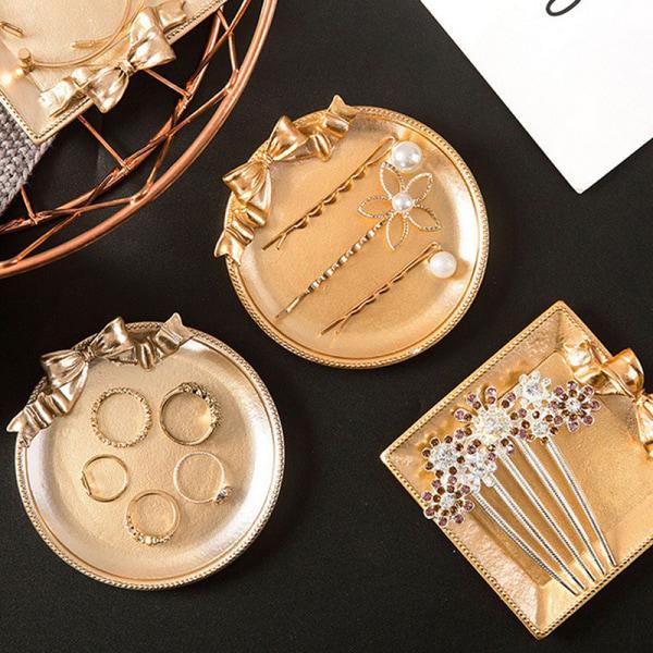 Geometriska smyckesförvaringsbricka Golden Metal Cosmetic Display Sh