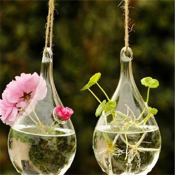 Glass hängande vas Flower Planter Container Pot Bröllopsdekor T