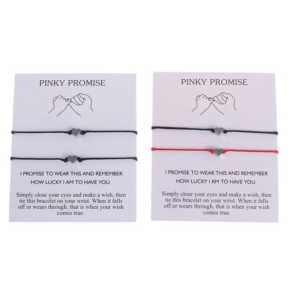 Heart Pinky Promise Justerbara armband Bästa vänner för alltid L