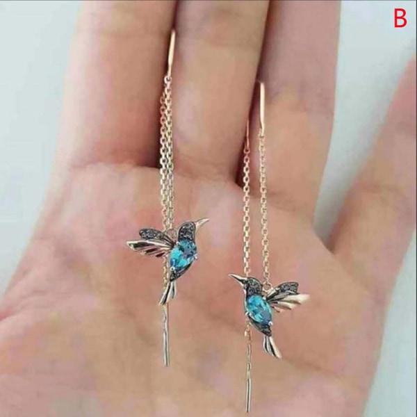 Hummingbird Long Drop Earrings Bird Pendant Tassel Crystal Pend