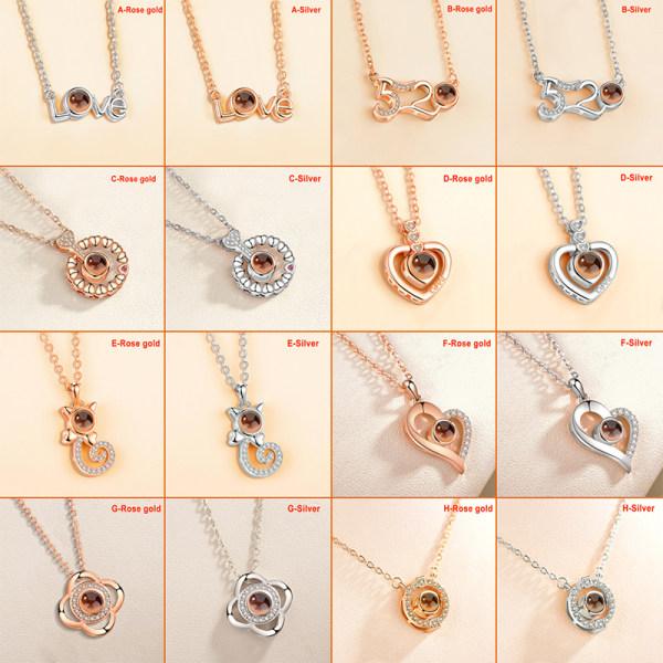 JAG ÄLSKAR DIG på 100 språk Projection Pendant Necklace For Mem