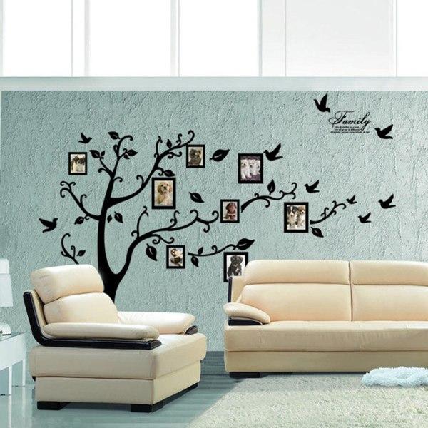 stor 3d diy foto träd fågel pvc väggdekal familj klistermärke mura