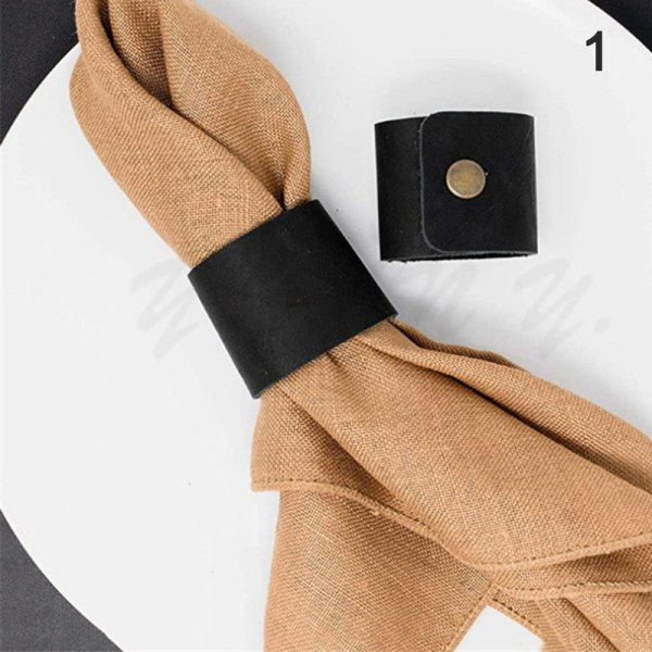 Läder Servettringar Handgjorda rustika servetthållare för HomeTable