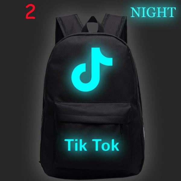 Luminous Tik Tok Starry Sky Ryggsäck Studentryggsäck Laptop Ba