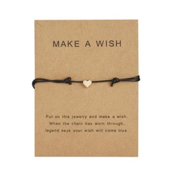 Gör ett önskemål Papper Card Love Woven Armband Mode Smycken Gif