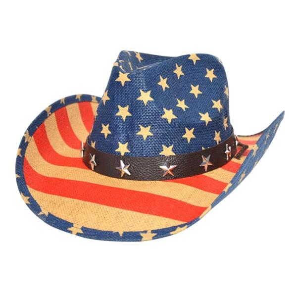 Mäns tappfärgade amerikanska amerikanska flaggan Shape-It Brim Cowb