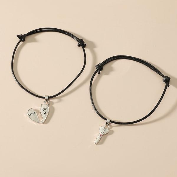 Nytt mode par armband armband hjärta nyckel hänge älskare Roma
