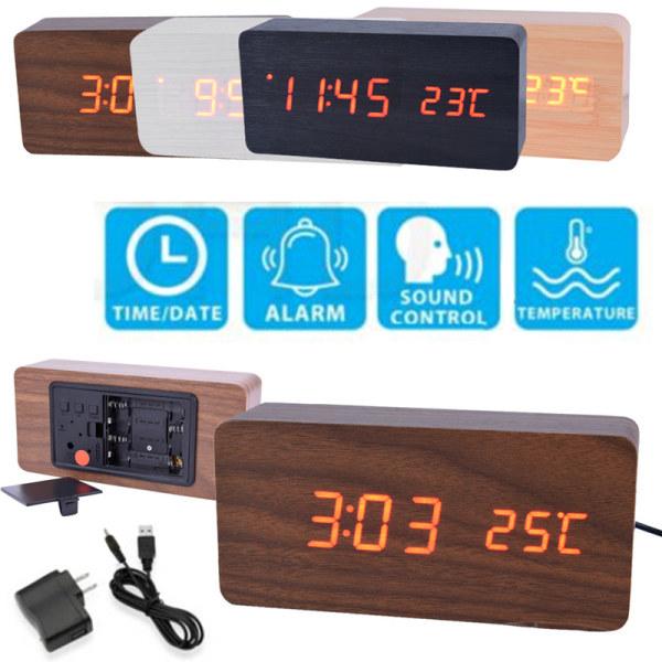 Ny röststyrning Modern trä digital LED väckarklocka Calenda