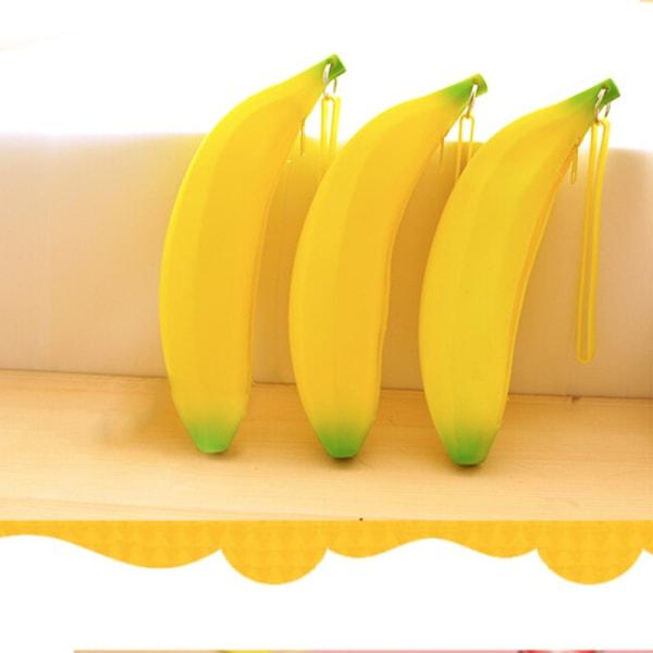 Nyhet Silikon bärbar pennväska med bananmyntväska Wal