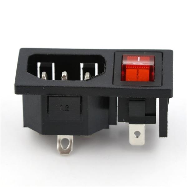 Strömuttagskontakt På / Av SPST Red Rocker Switch AC 250V 10