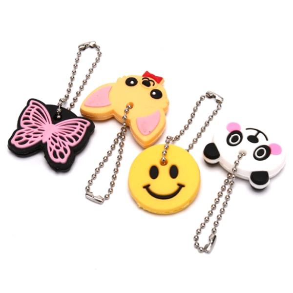 Silikon Butterfly Dog Key Cover Cap Nyckelring Nyckelring PVC-nyckel