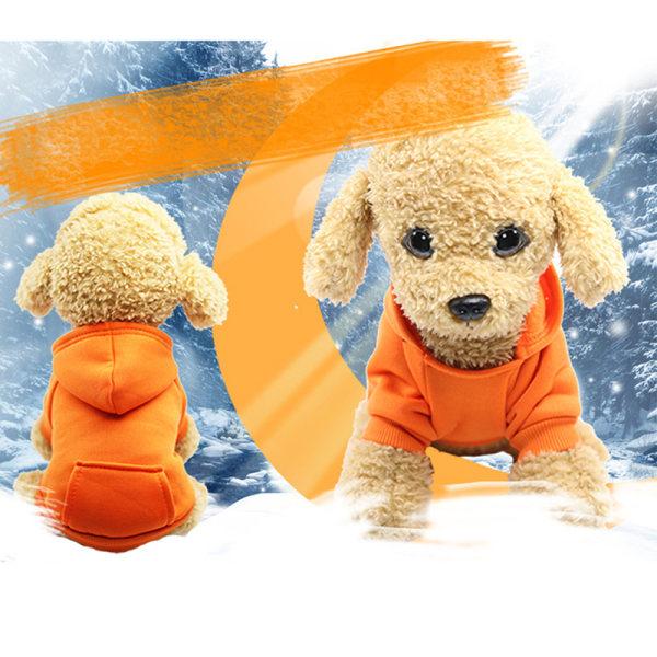 Enfärgad hund Fleece tröja Varma hundkläder Huvtröja mjuk