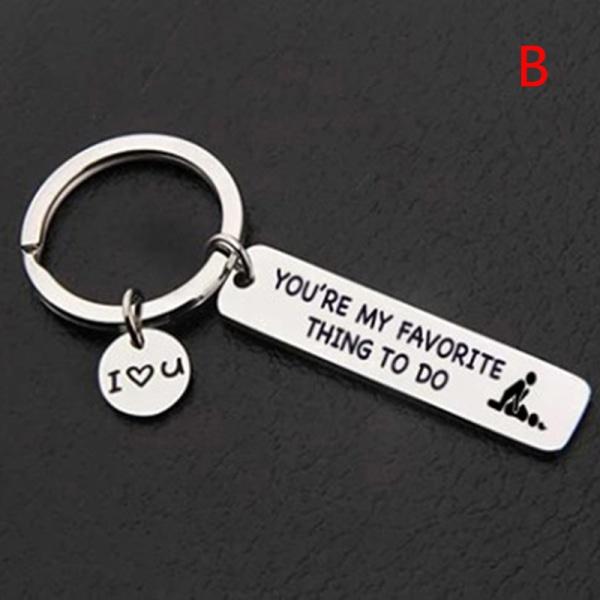 Tack för alla Orgasmer Jag älskar dig Nyckelring Par Nyckelring J
