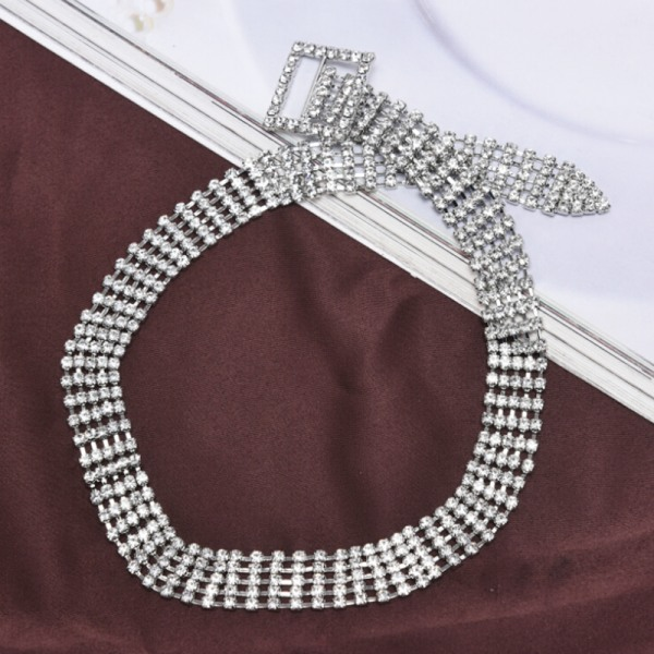 Kvinnor Rhinestone Crystal Diamond Choker Collar Bridal Wedding N