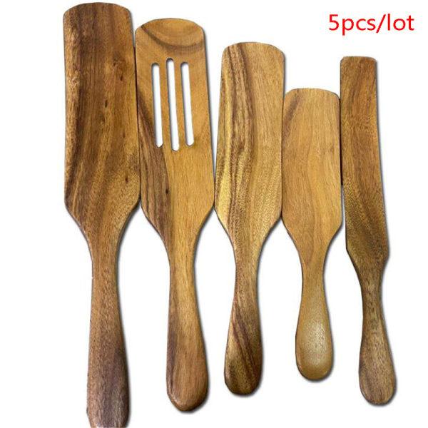 Trä köksredskap Set kökssatser Non-Stick trä Cookin