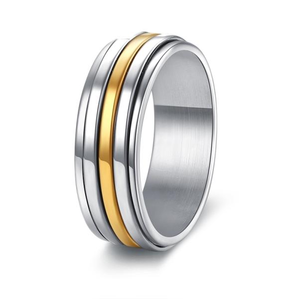 Rostfritt stål ring 7mm bred klassisk 3-rad 19
