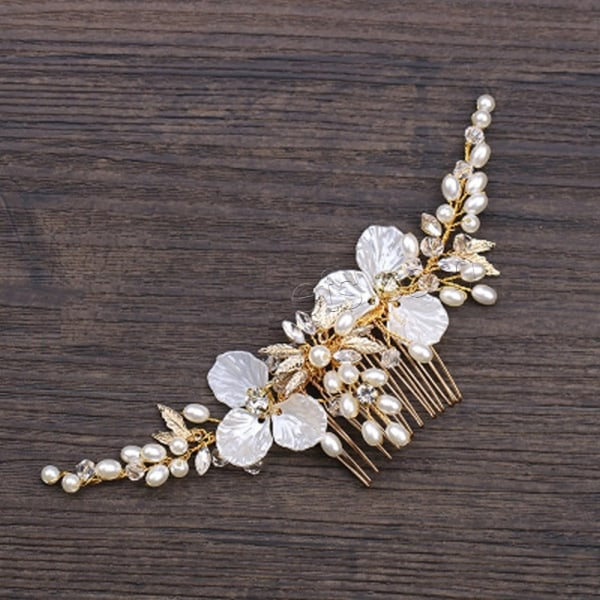 Bröllop pärla kristall hår klämma  guld