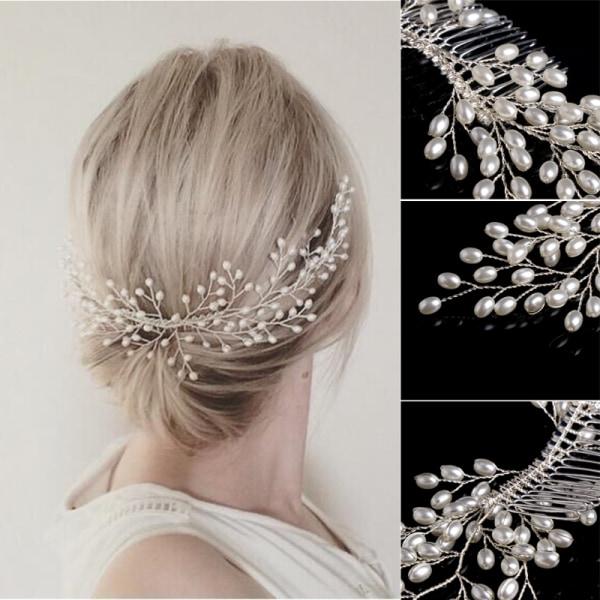 Bröllop pärla kristall hår klämma  vit
