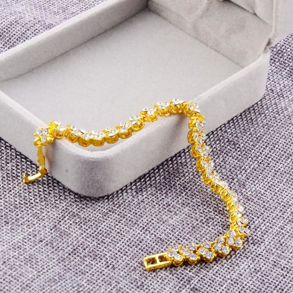 Guldpläterande 18K guldarmband Kristall guld