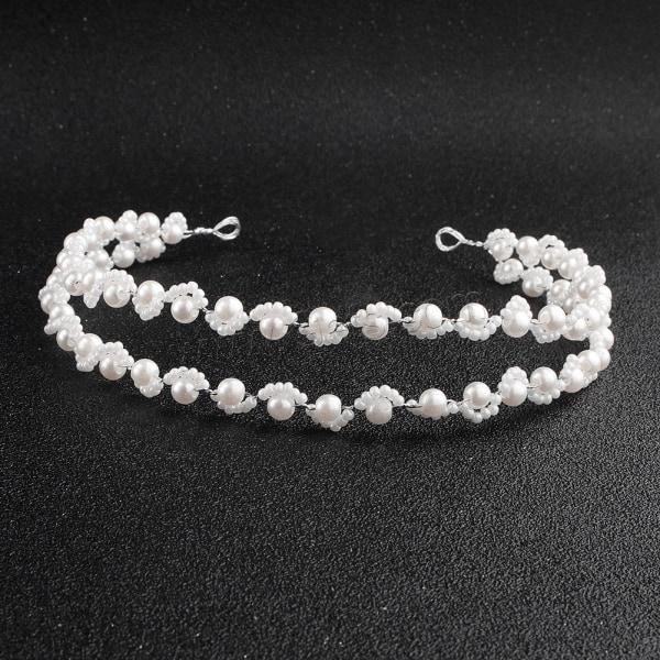 Kvinnor hårband  bröllop diadem pärla  vit