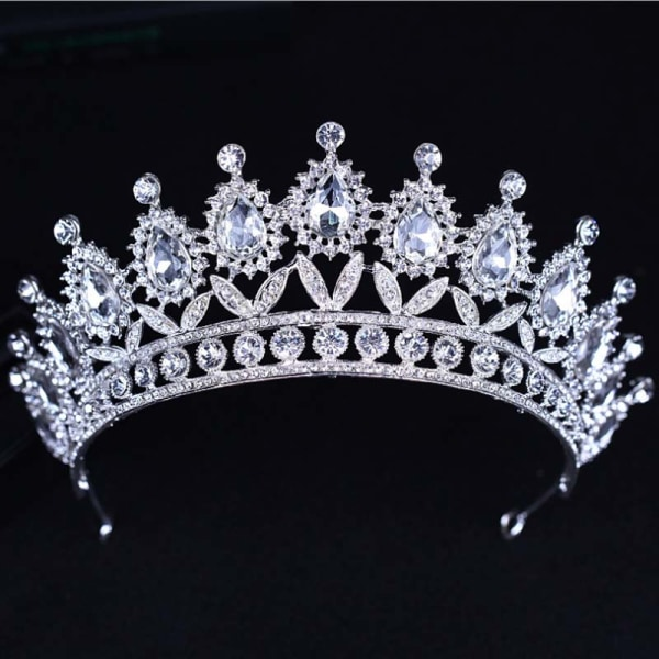 Lyx kristall CZ bröllop hår krona tiara