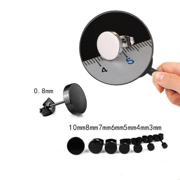 Rostfritt stål ETT Örhänge 1ST SILVER, SVART 3-10mm silver 3 mm